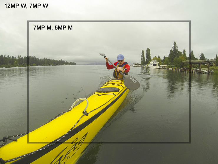 GoPro Hero3 still image sizes: 12MP, 7MP W are full sensor area angle-of-view, but only 12MP use all 4000×3000 pixels. 7MP W and 7MP M both have 3000×2250 pixels at different angles-of-view. 5MP M has the same angle-of-view as 7M but at 2560×1920 pixels.