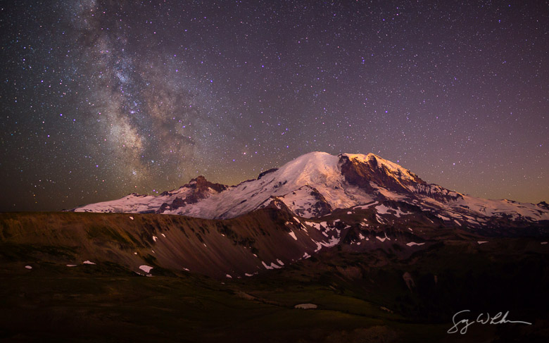 Milky Way from Mt. Fremont, Mt. Rainier NP, Washington State. Pan from 4 (2x2) horizontal images. Canon 5DIII, Rokinon 24mm f/1.4 @f/2, 15s, 30s, ISO1600.