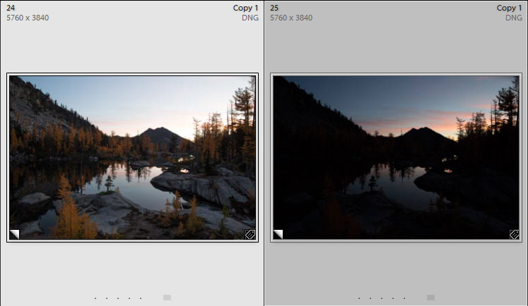 Thumbs of over and under-exposed images in Lightroom 6