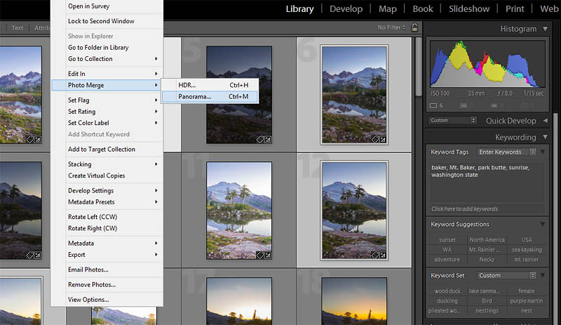 After selecting images, a  right-click shows the drop-down menu. Find  Photo Merge, and select HDR or Panorama.