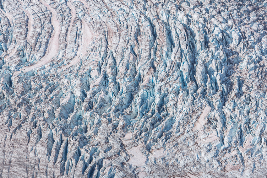 Looking down on the Winthrop Glacier from Third Burroughs, a 200mm lens captures a repetition of crevasses, a pattern.