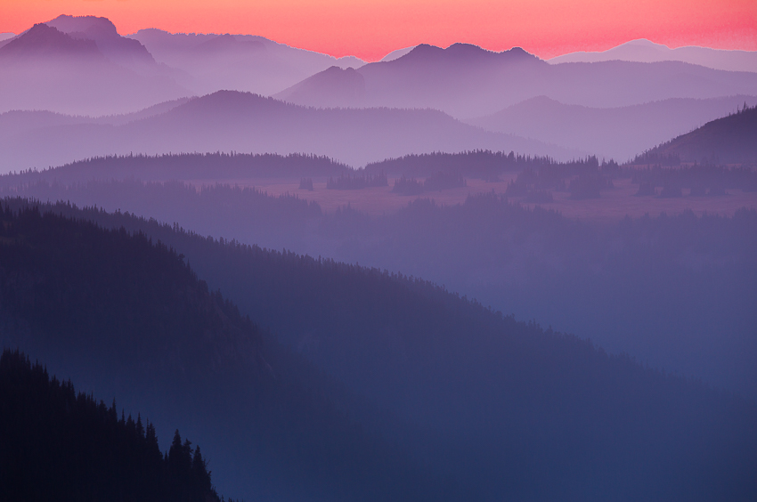 Looking west from Dege Peak after sunset, a 180mm lens extracts a layered pattern of hills.
