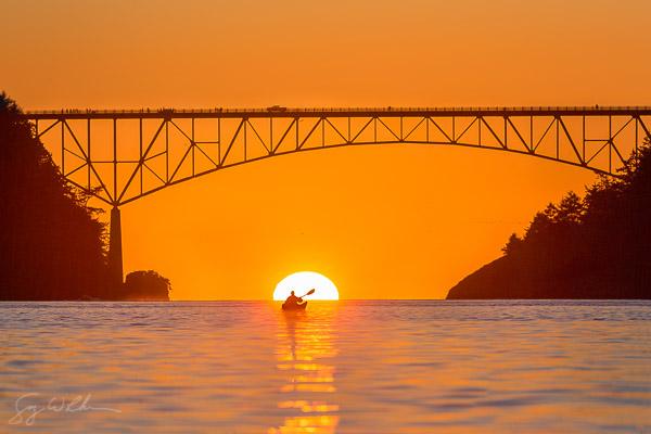 Sunset beneath the Deception Pass Bridge.
