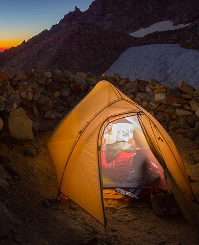 Two-person Big Agnes Fly Creek tent. 2.3 lb, at sunset below Sahale Glacier, Sahale Arm, North Cascades National Park, Washington.
