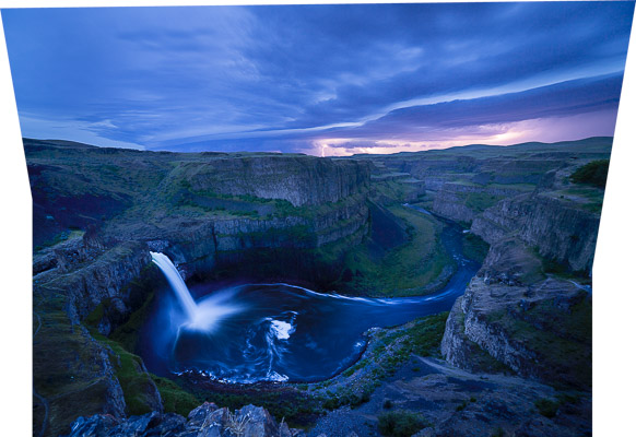 HDR capture of Palouse Falls combined with a sky lightning exposure via LIghtroom Merge Panorama.